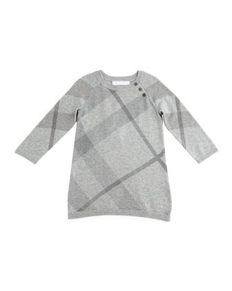 Kahlan Knit Check-Print Shift Dress, Pale Gray Melange, Size 3M-3Y