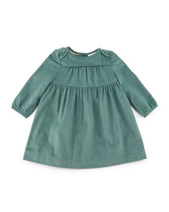 Alara Smocked Corduroy Shift Dress, Teal, Size 3M-3Y
