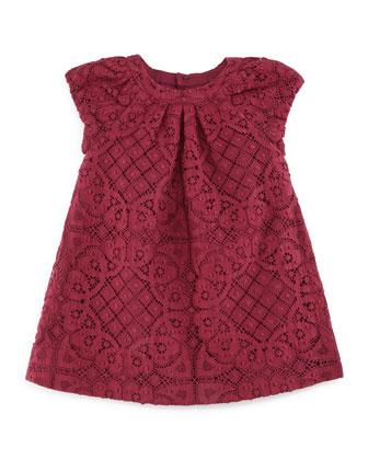 Desiree Lace Shift Dress, Cherry Pink, Size 3M-3Y