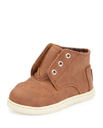 Faux-Leather Paseo Mid-Top Shoe, Brown, Tiny