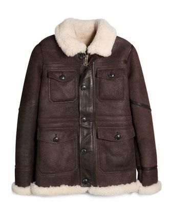 Deakin Shearling Fur Aviator Jacket, Dark Brown, Size 4-14