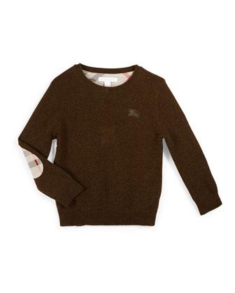Durham Cashmere Pullover Sweater, Olive Melange, Size 4-14