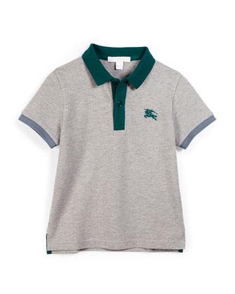 Leigham Contrast-Trim Cotton Polo Shirt, Gray, Size 4-14