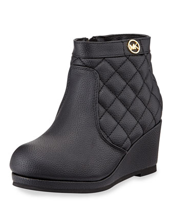 Cate Quilted Faux-Leather Wedge Bootie, Black, Youth
