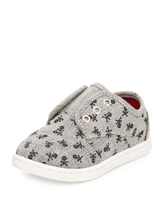 Skull-Print Paseo Slip-On Shoe, Gray, Tiny
