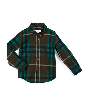 Fred Mini Long-Sleeve Check Shirt, Olive Green, Size 4-14