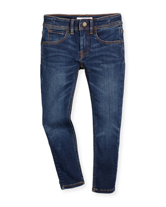 Faded Skinny Jeans, Medium Indigo, Size 4-14