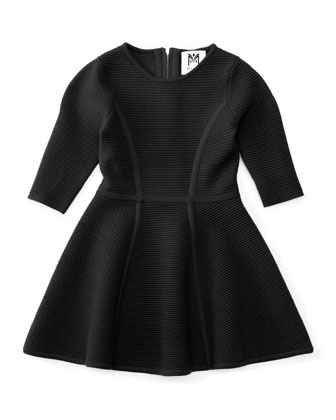 Ottoman Flare Dress, Black, Size 4-7