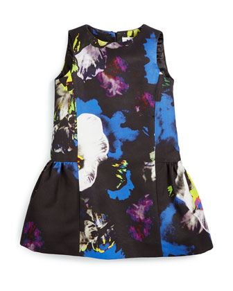 Sleeveless Floral Poplin Dress, Multicolor