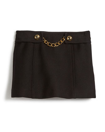 Bonded Wool Chain Mini Skirt, Black, Size 8-14