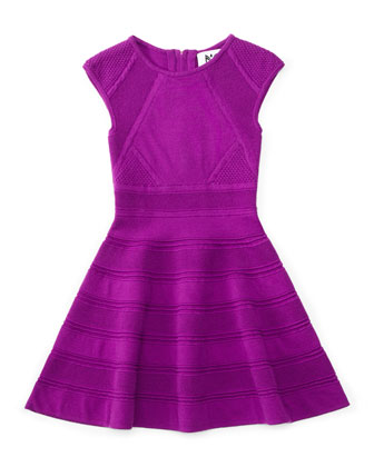 Textured-Knit Swing Dress, Purple, Size 8-14