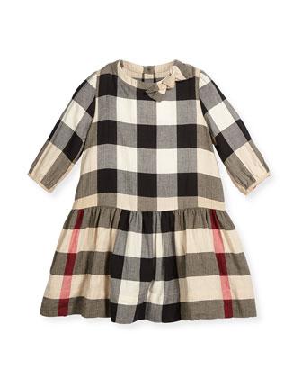 Haidee Check A-Line Dress, Tan, Sizes 4-14