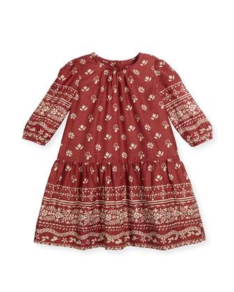 Tais Bandana-Print Poplin Dress, Peony Rose, Size 4-14