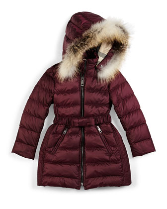 Catherine Quilted Fur-Trim Down Coat, Size 4-14