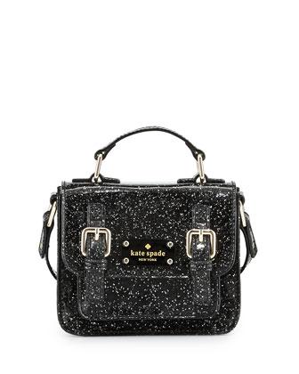 scout girls' metallic patent leather crossbody bag, black