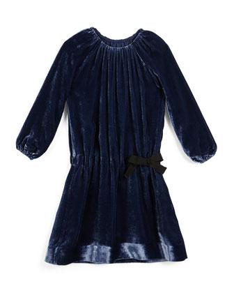 Alys Shirred Velvet Dress, Navy, Size 4-14