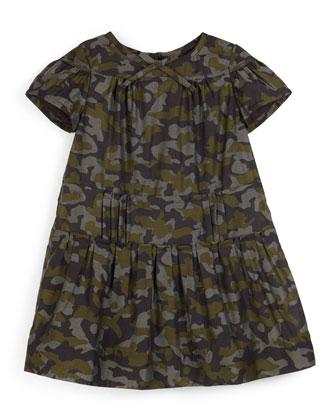 Jacquie Shirred Camo-Print Dress, Sage, Size 4-14