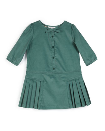 Celie Pleated Corduroy Dress, Teal, Size 4-14