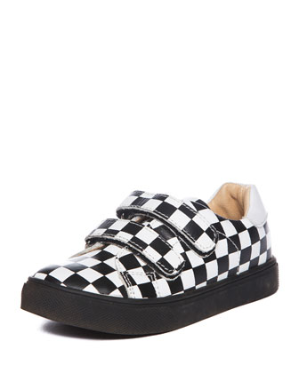 Axel Leather Check Low-Top Sneaker, Black/White, Toddler/Youth