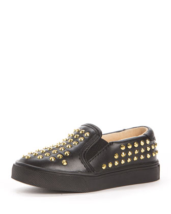 Liv Studded Leather Slip-On Sneaker, Black, Toddler/Youth