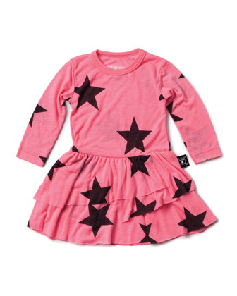 Tiered Star-Print Jersey Dress, Neon Pink, Size 18M-5