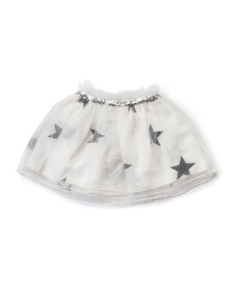 Sequin-Trim Tulle Star-Print Skirt, White, Size 18M-5