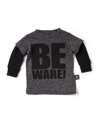 Beware Layered-Illusion Slub-Jersey Tee, Charcoal, Size 18M-5