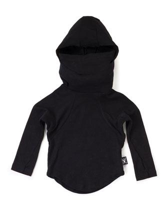 Long-Sleeve Hooded Cotton Ninja Shirt, Black, Size 2-5