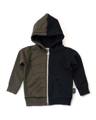 Hooded Colorblock Zip-Front Sweatshirt, Black/Olive, Size 2-5