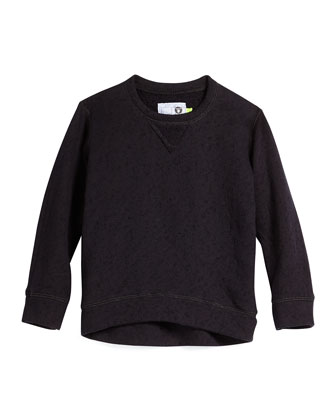Distressed Flecked Cotton Sweatshirt, Black, Size 2-5