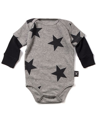 Long-Sleeve Polka-Dot Playsuit, Heather Gray, Size 0-18 Months