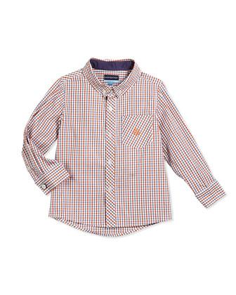 Long-Sleeve Cotton Check Shirt, Orange, Size 2T-7Y