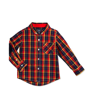 Long-Sleeve Cotton Plaid Shirt, Red, Size 2T-7Y