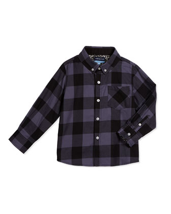 Long-Sleeve Cotton Buffalo-Check Shirt, Gray, Size 2T-7Y