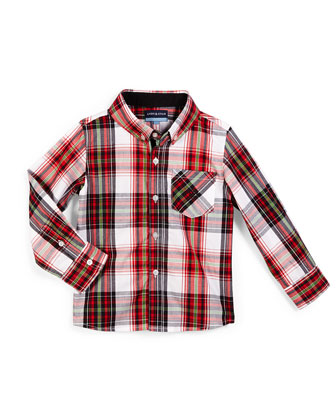 Holiday-Plaid Poplin Shirt, Red, Size 2T-7Y