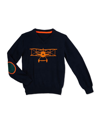 Airplane Pullover Sweater, Navy, Size 2T-7Y