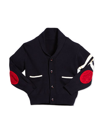 Cotton Varsity Cardigan, Navy, Size 2T-7Y