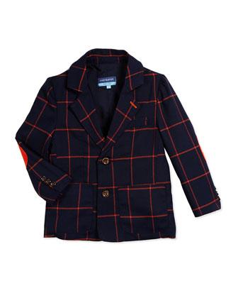 Windowpane-Check Two-Button Blazer, Navy/Orange, Size 2T-7Y