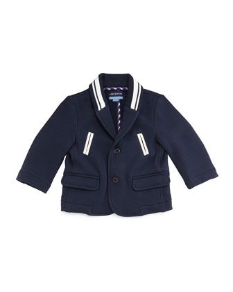 Cotton-Blend Varsity Blazer, Navy, Size 2T-7Y