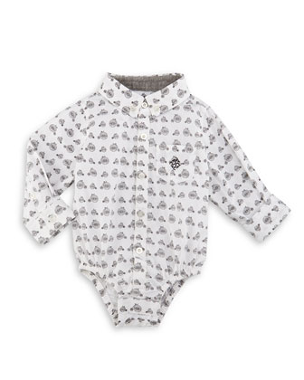 Long-Sleeve Cotton Bicycle-Print Shirtzie�, White, Size 6-24 Months