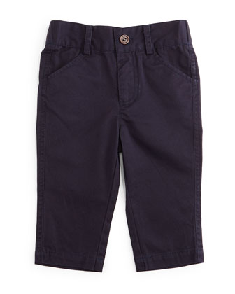 Twill Straight-Leg Pants, Navy, Size 6-24 Months
