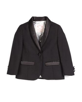 Satin-Trim Tuxedo Blazer, Black, Size 4-14