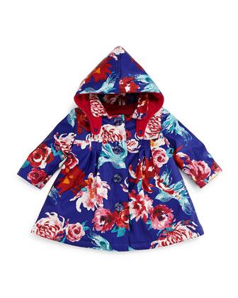 Fleece-Lined Floral Raincoat, Blue, Size 3T-6