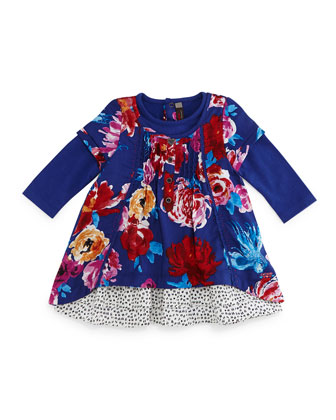 Twill Floral Shift Dress, Royal Blue, Size 3-6