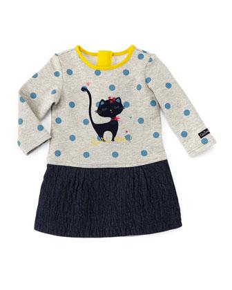Jersey & Chambray Long-Sleeve Combo Dress, Gray/Blue