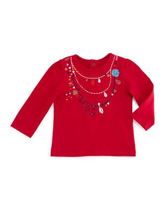 Long-Sleeve Necklace-Print Jersey Tee, Fuchsia, Size 3-6