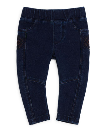 Embroidered Jean Leggings, Indigo
