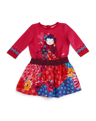Printed Fit-and-Flare Combo Dress, Fuchsia, Size 6M-2
