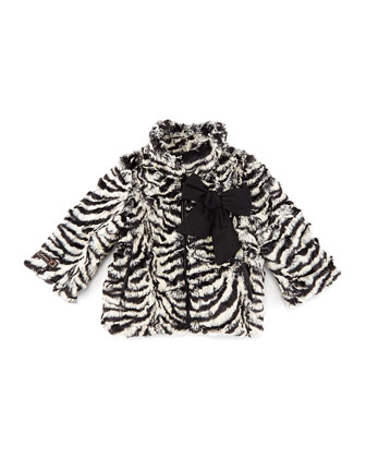 Zebra-Print Faux-Fur Coat, Black/White
