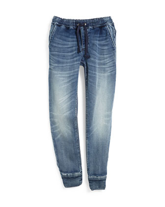 Terry-Lined Denim-Style Track Pants, Wendy, Size XS(7)-XL(14)